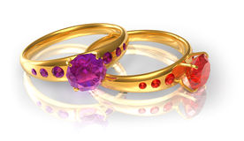 Golden wedding rings with jewels Royalty Free Stock Photography