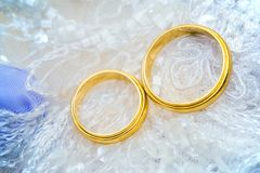 Golden wedding rings on lace Stock Photo