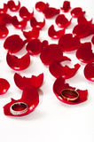 Golden wedding rings on the petals of red rose Stock Images