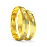 Golden Wedding Rings with a platinum insert Royalty Free Stock Photo