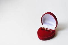 Golden wedding rings. In red box on white background stock photo