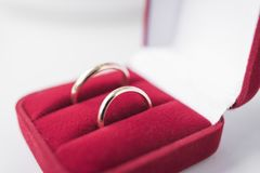 Golden wedding rings in red velvet box close-up royalty free stock images
