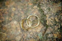 Golden Wedding Rings on a Stone Royalty Free Stock Images