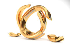 Golden Wedding Rings symbolizing the divorce between two people. 3d illustration, Wedding Rings symbolizing the divorce between two people Royalty Free Stock Photo