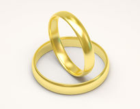 Golden Wedding Rings on white background Stock Photos