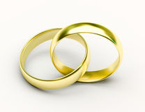 Golden Wedding Rings on white background Royalty Free Stock Images