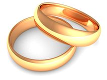 Golden wedding rings on white background. 3d Royalty Free Stock Photo