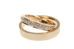 Golden wedding rings,  on white Royalty Free Stock Images