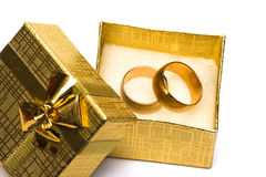 Golden weddings rings. In beautiful box Royalty Free Stock Photography