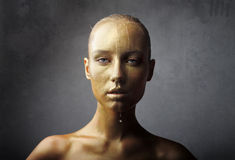 Golden wet visage Royalty Free Stock Photography