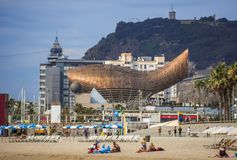 Golden whale sculpture in Barcelona Stock Photo