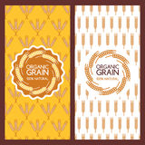 Golden wheat ears seamless pattern and logo design. Stock Images