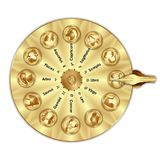 Golden wheel fortune sign zodiac. Golden wheel of fortune with astrological signs of the zodiac. Isolated objects Royalty Free Stock Images