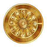 Golden wheel fortune sign zodiac. Golden wheel of fortune with astrological signs of the zodiac. Isolated objects Royalty Free Stock Photos