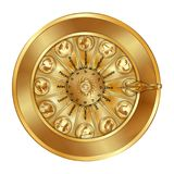 Golden wheel fortune sign zodiac. Golden wheel of fortune with astrological signs of the zodiac. Isolated objects Stock Image