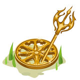 Golden wheel and Trident in the grass Stock Photos