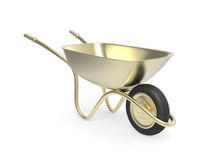 Golden wheelbarrow Royalty Free Stock Images