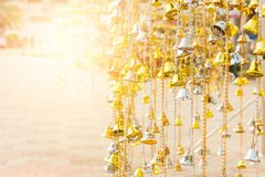 Golden and white bell group in the temple in Thailand.  Royalty Free Stock Images