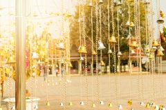 Golden and white bell group in the temple in Thailand.  Stock Photography