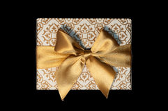 Golden white gift boxes and golden ribbon bow isolated Stock Image