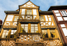 Golden and white half-timbered house in Miltenberg, Germany Royalty Free Stock Photos