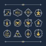 Golden and white line Christmas emblems motifs set on navy blue background stock illustration