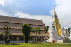 Golden and white pagoda in temple Stock Photo
