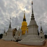 Golden and White Stupas in Chiang Mai, Thailand Stock Photography