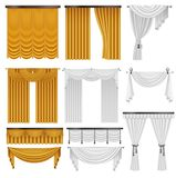 Golden and white velvet silk curtains and draperies set. Interior realistic luxury curtains decoration design. Royalty Free Stock Photos