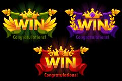 Golden WIN. Vector versions Isolated logo Win with colored precious gems for developing 2D games. Icons on separate layers vector illustration