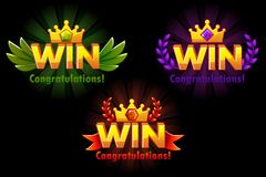 Golden WIN. Vector versions Isolated logo Win with colored precious gems for developing 2D games. royalty free illustration