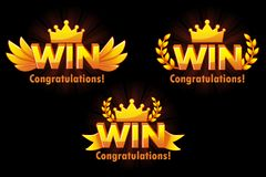 Golden WIN. Vector versions Isolated logo Win for developing 2D games. royalty free illustration
