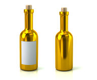 Golden wine bottles Royalty Free Stock Images
