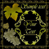 Golden wine label. Wine,border floral calligraphic retro label vector illustration Stock Photography