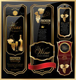 Golden wine label collection. Gold and black wine labels collection Stock Image