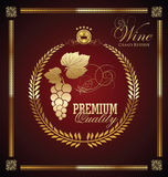 Golden wine label. Illustration Royalty Free Stock Photo