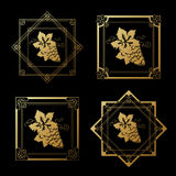 Golden wine labels with grapes on black background. Square and star frames on wine bottle. Decorative border. Stock Photography