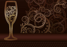 Golden wineglass card Royalty Free Stock Image