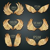Golden wing logo vector set. Angels and bird elite gold labels for corporate identity design Royalty Free Stock Image