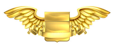 Golden Winged Shield Scroll Design Stock Photography
