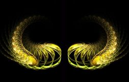 Golden Wings. Fractal image of wings royalty free illustration