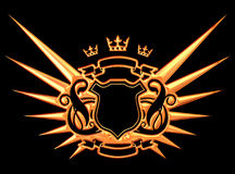 Golden Wings. Golden Coat Of Arms With Crowns stock illustration