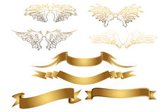 Golden Wings and Banners Stock Photos
