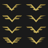 Golden Wings emblem Royalty Free Stock Image