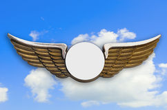 Golden wings, with sky in background. Stock Photo