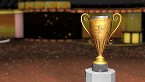 Golden winner cup. With blue chroma key stock video