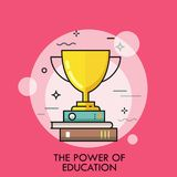 Golden Winner Cup Standing On Stack Of Books. Concept Of Power Of Education, Study Success, Successful Student Royalty Free Stock Photography