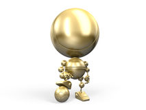 Golden winner with footbal ball Royalty Free Stock Image