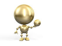 Golden winner with footbal ball Royalty Free Stock Images