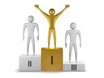 Golden winner and gray prizetakers on podium. Front view Stock Photos